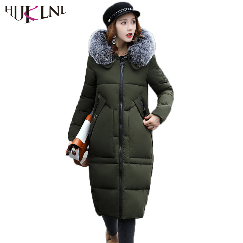 HIJKLNL High Quality Winter Thick Warm Jacket Coat Women 2017 New Slim Fit X-Long Hooded Fur Collar Parka Mujer camperas NA316 2017 new winter jacket women coat warm slim thick long parkas high quality fur collar hooded for women coats female jacket 6l57