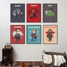 Superhero Cute Character Cartoon Marvel Comics Batman America Canvas Painting Art Print Poster Picture Wall Home Decor