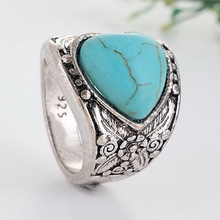 Antique Silver Plating Vintage Love Stone Ring Fashion Jewelry Turquoises Finger Rings For Women Men Wedding Party JewelryZ1X990