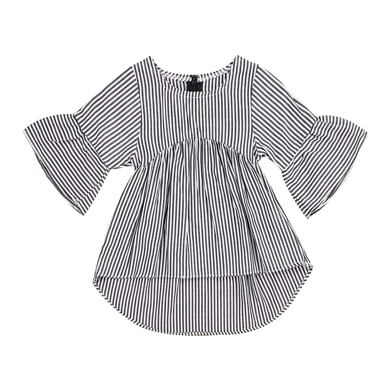 Striped Newborn Baby Dress Flare Sleeve Asymmetrical Mini Dresses Fashion Infant Kids Sundress Clothes