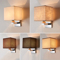 Led E27 Wall Lamp Sconce Lighting Fixture Fabric Lampshade for Bedroom Headboard Bedside Home House Decoration Hotel Luminaire|LED Indoor Wall Lamps| |  -
