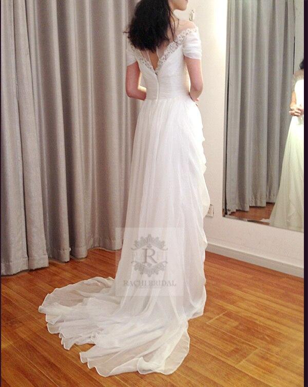 2016 vintage Wedding Dress casamento New Arrival vestido de noiva sexy chiffon cheap Handmade beading short sleeve free Shipping in Wedding Dresses from Weddings Events