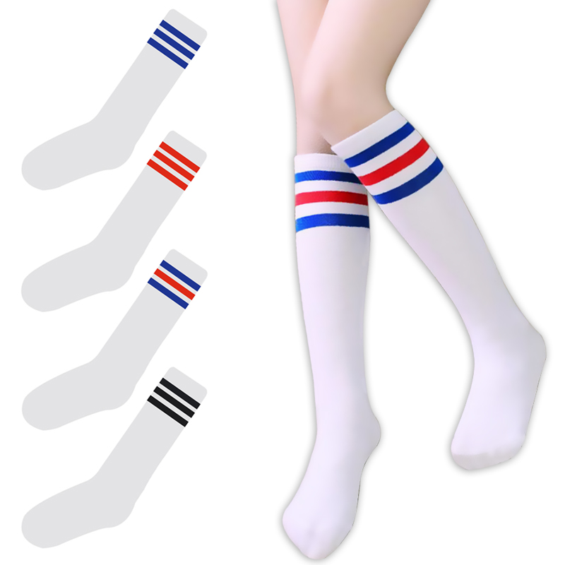 Korea College Style Women&Girl Long Tube Three/3 Striped Socks Colorful  Fashion Cotton High Quality Fancy Tube Socks