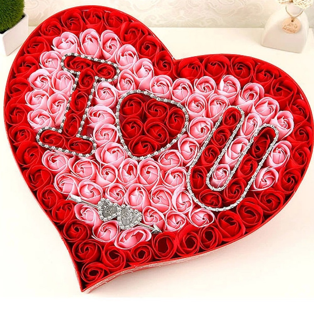 HYSUNG Valentine\'s Day Soap Roses Beautiful Heart Box with LOVE ...