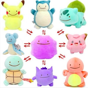 25cm Anime Pocket Animal Ditto Pillow Cushion Transfer Pikachu Charmander Squirtle Bulbasaur Stuffed Plush Dolls Toy Gift SA1666(China)