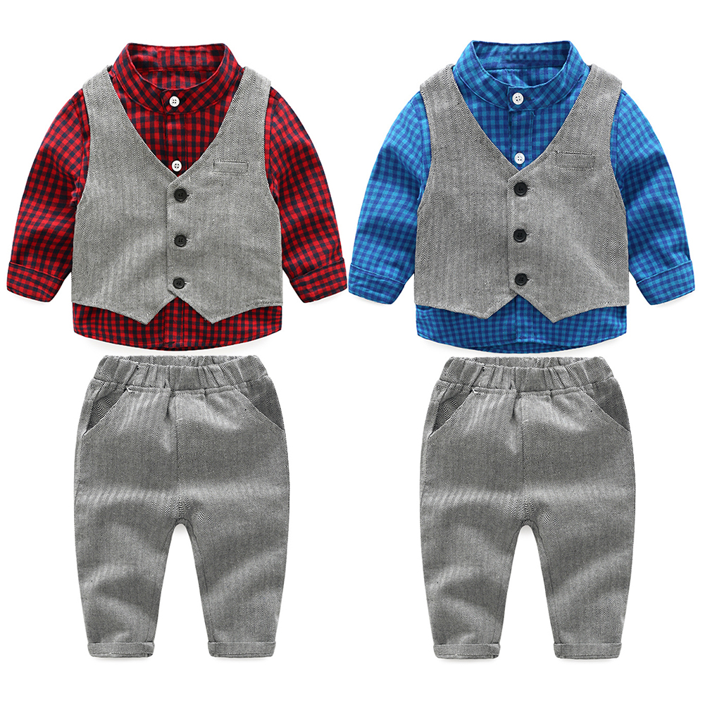 2017 New Spring Autumn Baby Kids Boys Clothing Set Fashion Plaid Shirt+Vest+Pants 3pcs Kids Formal Clothes Outfits Suit For 1-4Y
