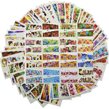 48 pçs nova cor misturada conjuntos de etiqueta do prego capa completa envolve flor/imagem sexy menina para decalques de transferência água da arte do prego tr # A145 192