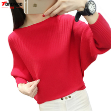 Fashion Casual Bat Shirt 2017 Autumn and Winter New Women's Solid Color Long-sleeved The word collar Pullover Sweater
