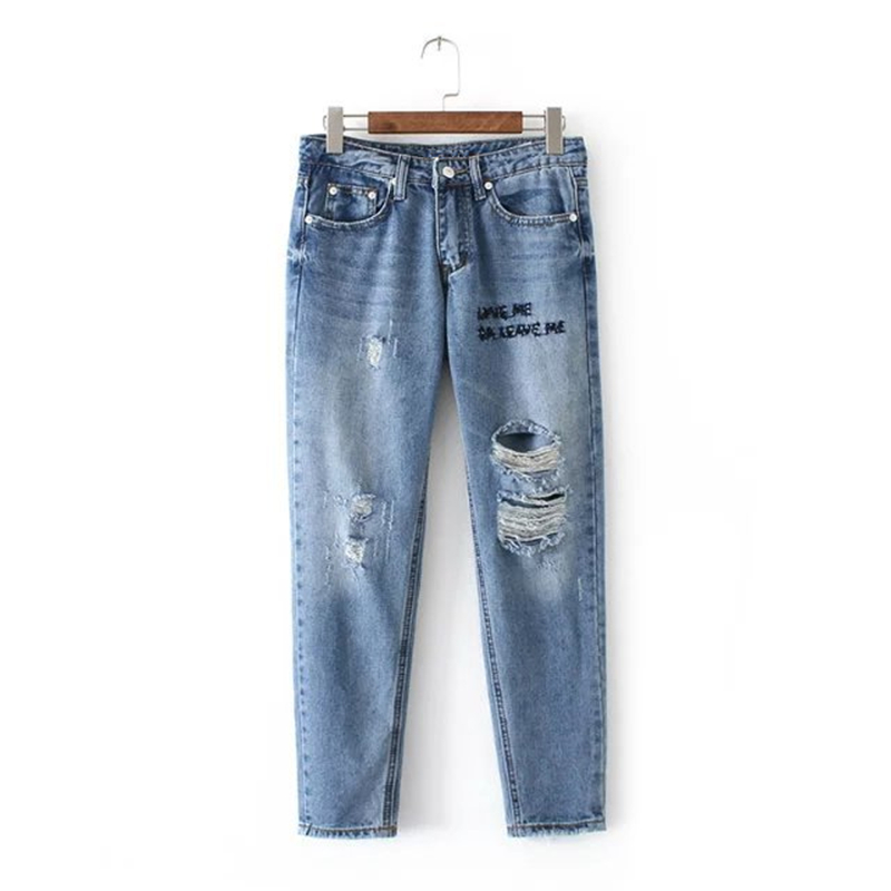 Summer Boyfriend hole ripped jeans women pants Cool denim vintage letter embroidery jeans for girl Mid waist casual pants female boyfriend jeans women ankle length washed denim summer vintage hole ripped letter embroidery harem pants female casual streetwea