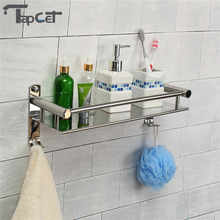 TAPCET 40/50CM Wall Mount Stainless Steel Single Tier Storage Basket Bathroom Soap Dish Shampoo Rack Bathroom Shelves