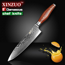 XINZUO chef knife Japanese Damascus kitchen knife kitchen tool cooker knife Western chef knife Color wood handle free shipping