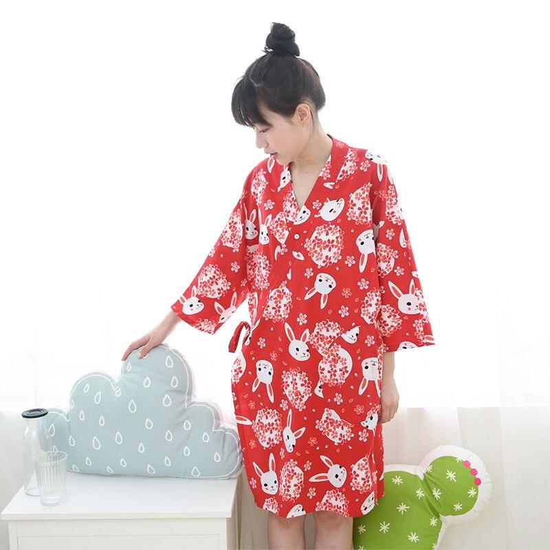 2019 100% coton kimono robes femmes simple chemise de nuit mignon lapin kimono japonais peignoirs pour femmes robe de chambre