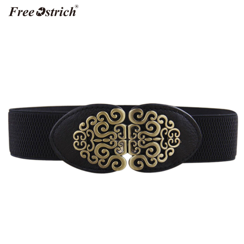 Free Ostrich Faux Leather   Belt   Women Casual Solid Automatic Vintage Buckle Waist High Quality Strap   Belts   Dropshipping B0220