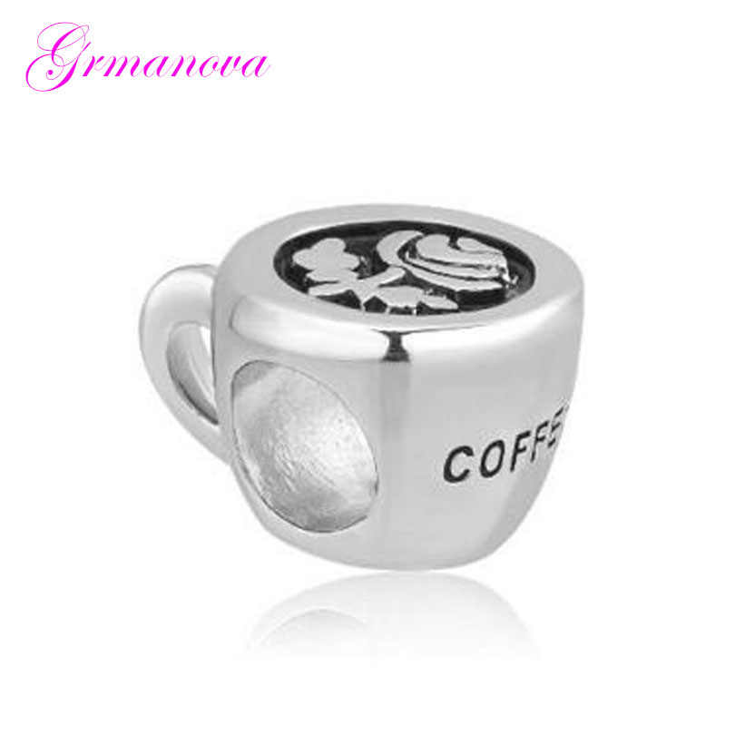 9d4a3d1de fashion Flower Coffee Cup Charm Beads Jewelry Amulet Fit Pandora Bracelet  Necklace