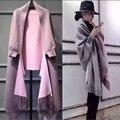 2016 Nuevas mujeres de la Moda Elegante de la Alta Sociedad de Cachemira Suéteres de La Rebeca de La Borla Del Batwing Mangas Bufanda Del Cabo Outwear B038