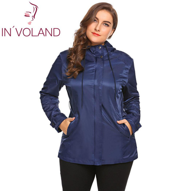 8557871b6eb IN VOLAND Large Size Women Jacket Coat XL-5XL Spring Autumn Casual Hooded  Long Sleeve Outwear Lightweight Big Overcoat Plus Size