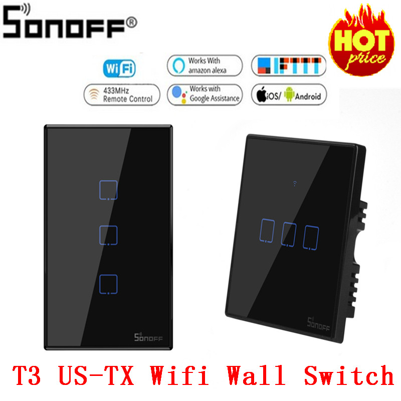 Itead Sonoff New T3US 120 Size 1/<font><b>2</b></font>/3 <font><b>gang</b></font> TX 433Mhz RF Remoted Controlled <font><b>Wifi</b></font> <font><b>Switch</b></font> With Border Works With Alexa Google Home image