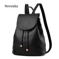 NEVENKA Women PU Leather Backpack Teenager Girl Simple Style Travle Backpacks Schoollbag Ladies High Quality Mochila