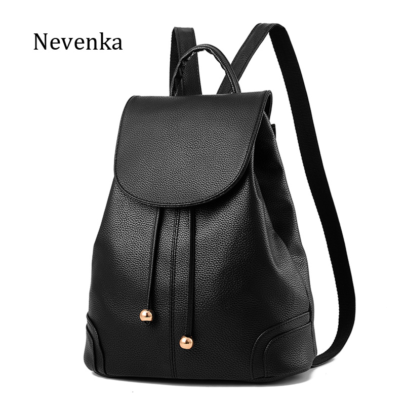 NEVENKA Women PU Leather Backpack Teenager Girl Simple Style Travle Backpacks Schoollbag Ladies High Quality Mochila School Bags women sequin backpack mochila lentejuelas teenager girl school bags bling bling lady backpacks bolsa feminina sac a main femme