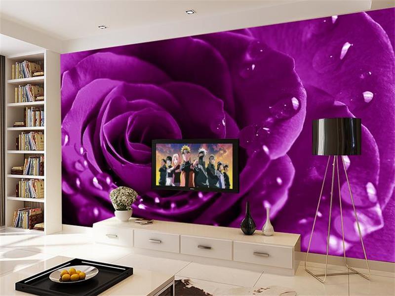 purple 3d background wall rose living tv sofa paper flowers super custom mural bedding hotel