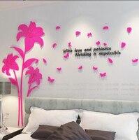 Grandes Flores de Lírio e Borboleta 3d Flores Adesivos de Parede para Sala de estar Decoração Melhores Presentes para Home Decor fundo TV