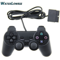 Waterlowrie 1 8M Black Wired Controller Double Shock Remote Joystick Gamepad Joypad For PlayStation 2 PS2