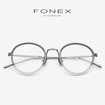 642373bbe9 Gafas de acetato B de titanio montura para mujeres 2019 nuevas gafas  ópticas redondas de miopía para hombres gafas de prescripción 853