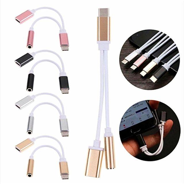 TYPE-C USB do 3.5mm kabel do słuchawek 2 w 1 adapter portu muzycznego typ C do 3.5 AUX Jack adapter do ładowania telefonu