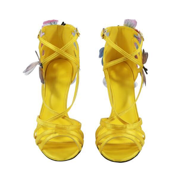 Arrivée Dames Picture noeud Haute Appliques Jaune Chaussures D'été Femmes Talons Picture As Marque Conception Bleu Nouvelle as Sandales Cheville Sangle Papillon SAdS1q