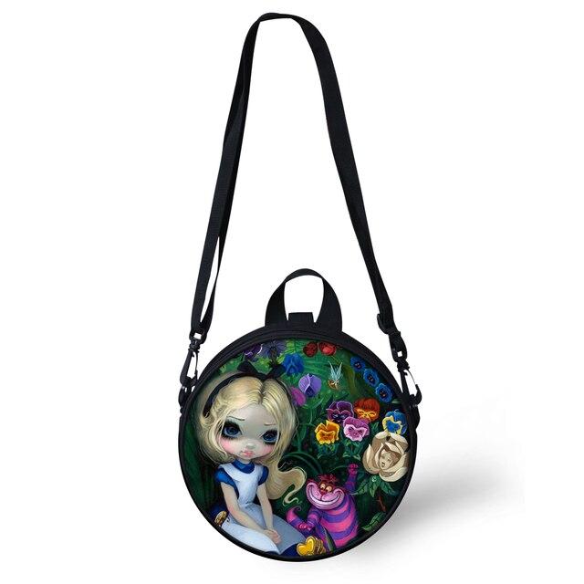 d960ac70c855 FORUDESIGNS Round Crossbody Bag For Women Girls Cartoon Alice Gothic Girl  Print Women Shoulder Sac Circle Pack Purse Wholesale