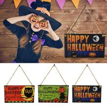 Wooden Plate Halloween Scene Pattern Hanging Board Haunted House Decoration Family Decorations Happy Letter Printed