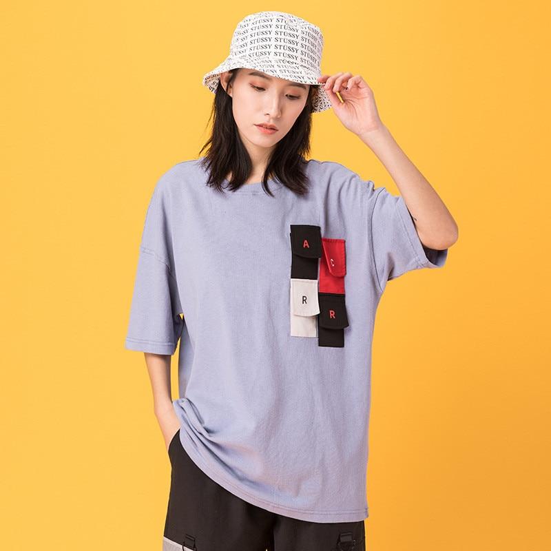 Japonais Harajuku femmes Streetwear Multi poche Patch T Shirt urbain fille Hip Hop à manches courtes coton Cargo t-shirt surdimensionné