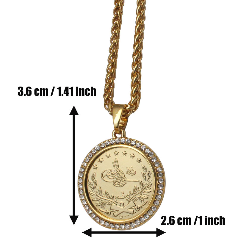 ZKD islam Arab Coin Gold Color Turkey Coins crystal Pendant Necklace  muslim Ottoman coins jewelry