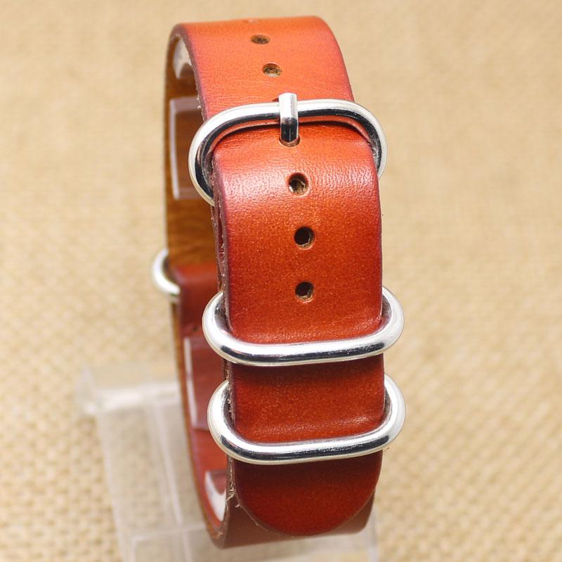 20MM Orange Brown Fashion Genuine Leather Stainless Steel Wrist Quartz Watch Band Strap Pin Buckle Bracelet stylish 8 led blue light digit stainless steel bracelet wrist watch black 1 cr2016