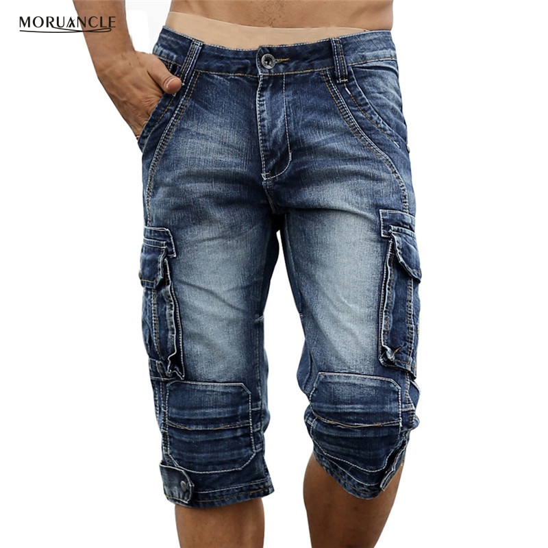 MORUANCLE Mens Retro Cargo Denim Shorts Vintage Acid Washed Pudar Multi-Pockets Gaya Militer Biker Jeans Pendek Plus Saiz 29-40