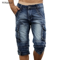 MORUANCLE Mens Retro Cargo Denim Shorts Vintage Acid Washed Faded Multi Pockets Military Style Biker Short Jeans Plus Size 29 40