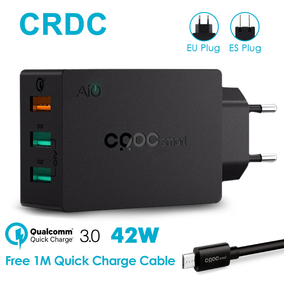 CRDC 3 Ports USB Charger QC 3.0 EU/US Plug The Max 2.4A Fasts
