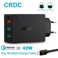 CRDC 3 Port USB Charger Quick Charge 3 0 USB Wall Charger For IPhone 7 Plus