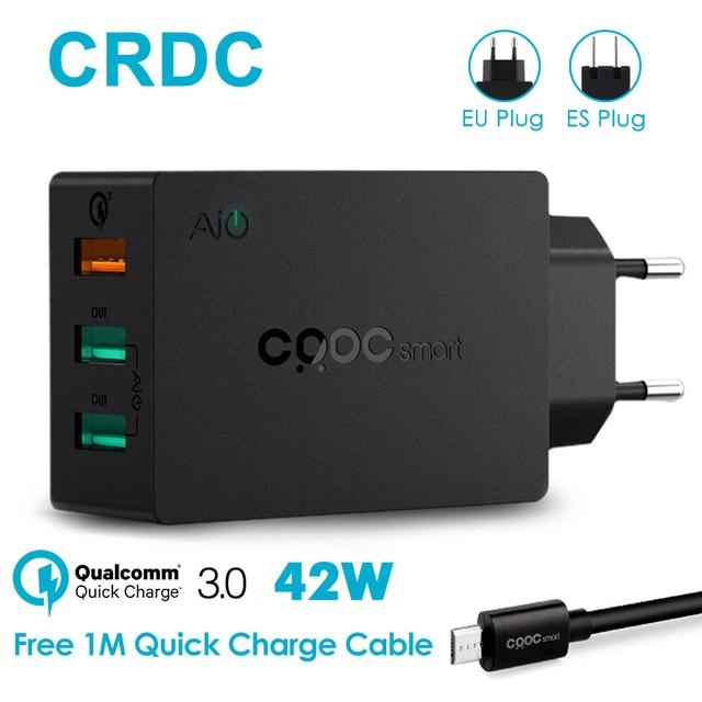 Crdc 3 Порты USB Зарядное устройство QC 3.0 EU/us Подключите Max 2.4a быстро Зарядное устройство Адаптер мобильного телефона Зарядное устройство для iPhone Xiaomi Redmi 4x