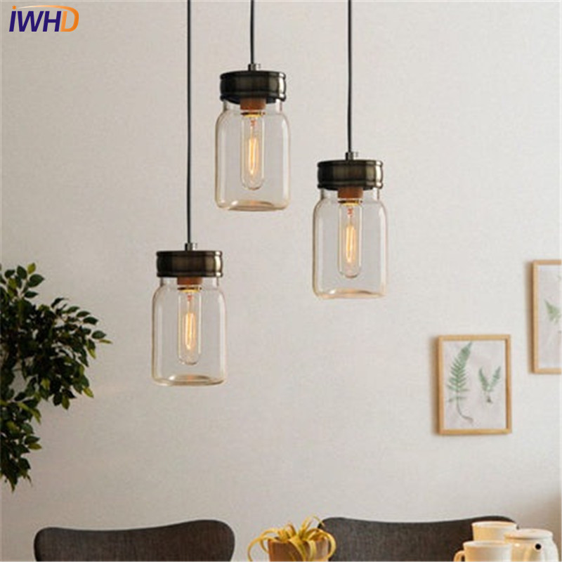 IWHD Loft Style Single Head Glass Droplight Edison Industrial Vintage Pendant Light Fixtures Dining Room Hanging Lamp Lighting iwhd loft style creative 3 head iron glass droplight modern led pendant lamp fixtures dining room hanging light home lighting