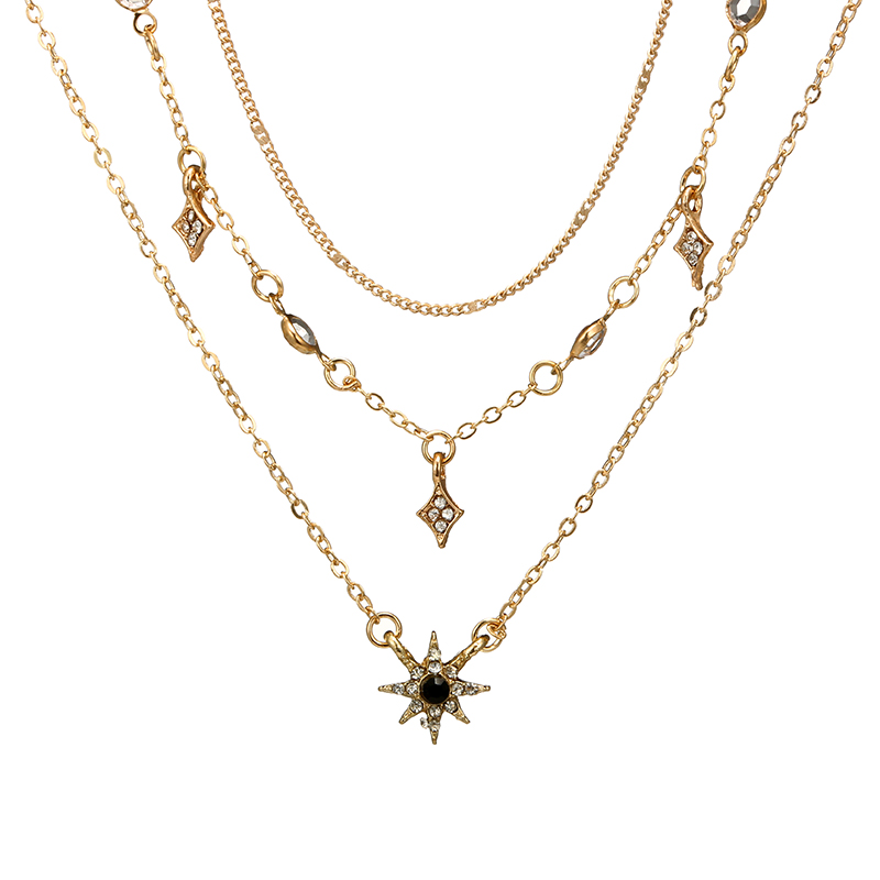 Tocona Charm Shiny Gem Crystal Star Bead Chain Tassel Pendant Multilayer Clavicle Neckace Women Boho Gold Party Jewelry Gift6568 3