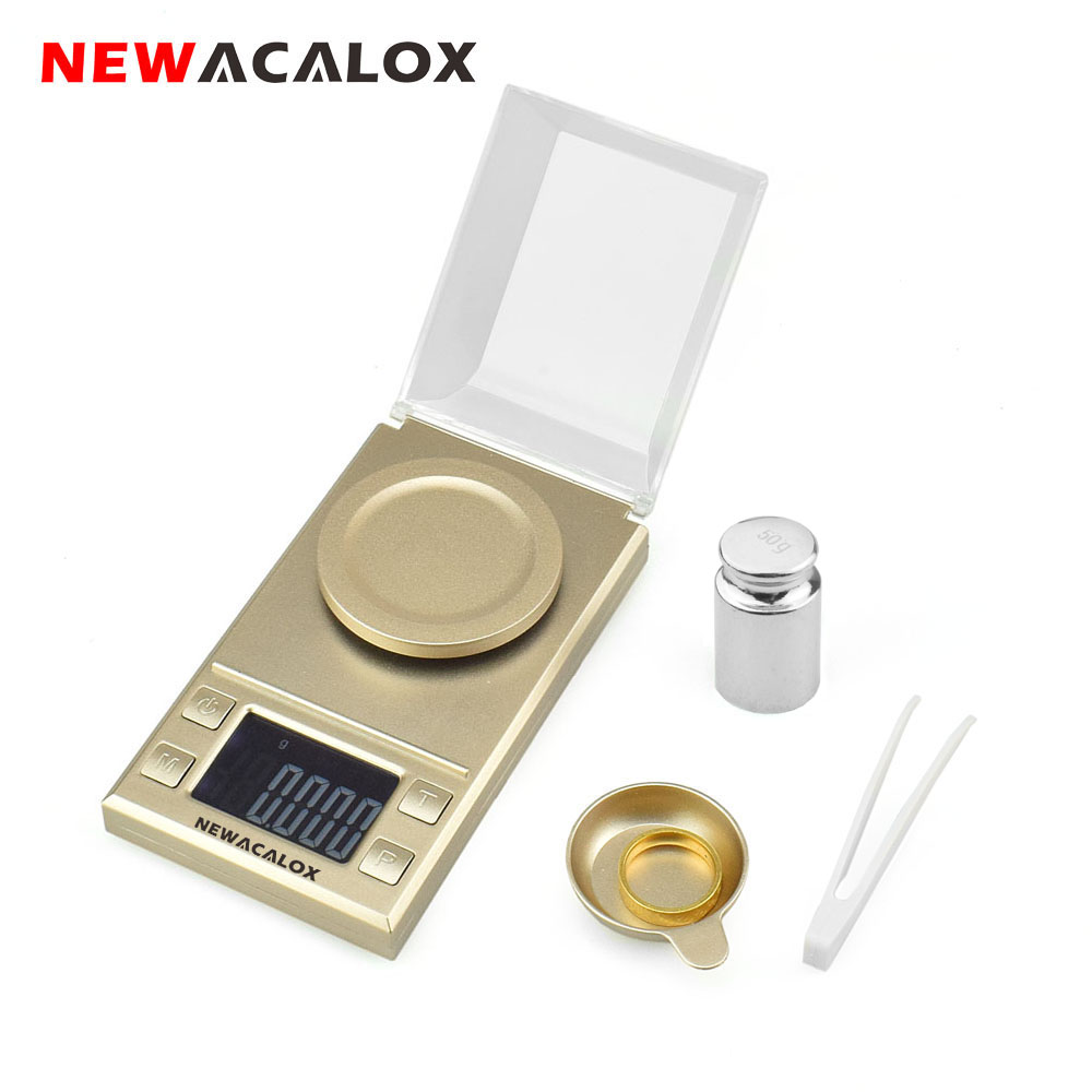 NEWACALOX 100/50g 0.001g Precision Jewelry Scale Portable Mini Lab Weighing Diamond Medical LCD Digital Electronic Balance Scale newacalox 50g 0 001g portable mini jewelry scales lab weight high precision scale medicinal use lcd digital electronic balance