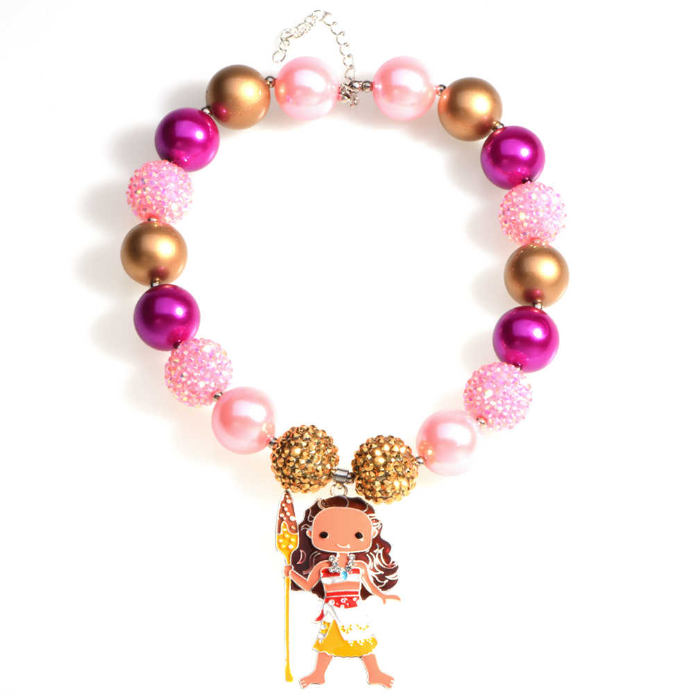 Princess Moana Inspired Pendant Chunky Bead Necklace Girls Bubblegum Necklace Handmade Toddler Necklace Birthday Gift for Kids