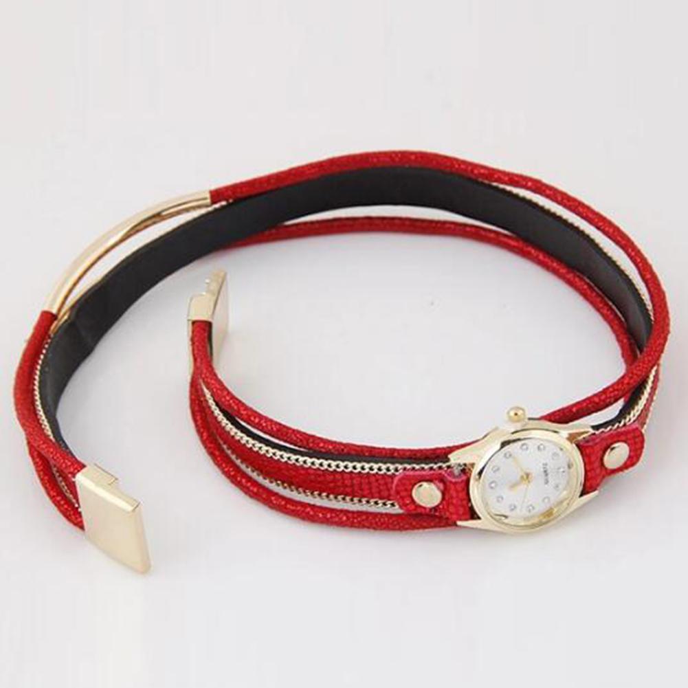 LinTimes Women's Watch Multi Layers Metallic Ornament Twining Hand Chain Leather Belt Quartz Watch 5