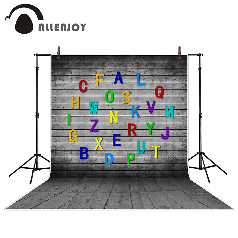 Allenjoy photography backdrops Wall playful gray letters wood brick wall backgrounds for photo studio