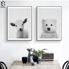 Nordic Lovely Art Posters and Prints Polar Bear Wall Canvas Painting Sheep Pictures For Dining Room Home Decor