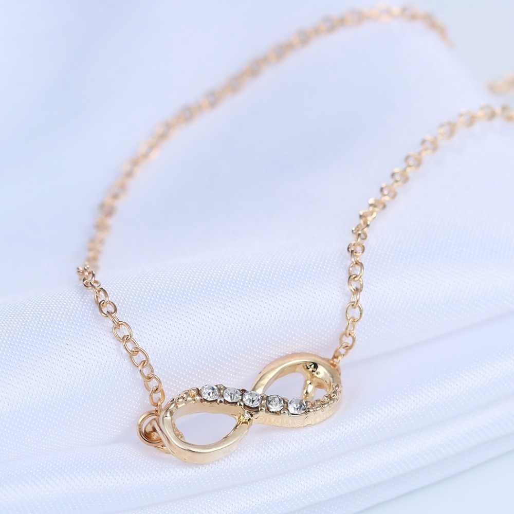 Chereda Vàng Mạ Bạc Tiny Infinity Mặt Dây Chuyền Vòng Cổ Đáng Yêu Lời Hứa Biểu Tượng Quyến Rũ cho Phụ Nữ Tốt Nhất Dây Chuyền Quà Tặng
