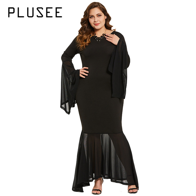 PLUSEE Over Size Women Mermaid Maxi Dress Long Flare Sleeve O Neck ...