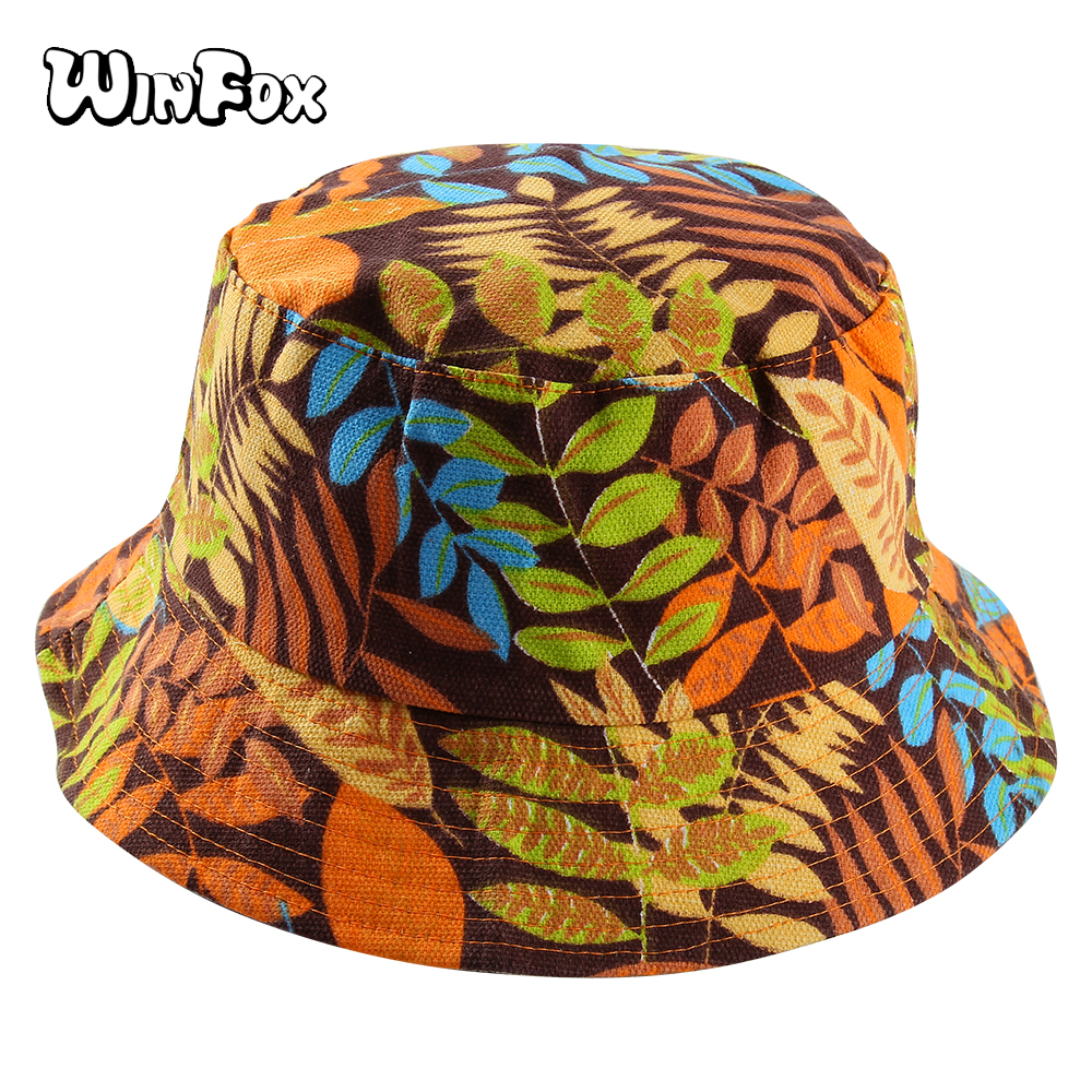 Winfox 2018 New Double Side Hip Hop Leaf Bucket Hats for Women and Men Panama Bucket Cap Sun Fisherman Outdoor Travel Boonie Hat in Men 39 s Bucket Hats from Apparel Accessories