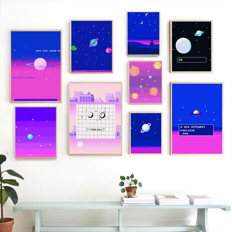 Pixel Style Spaces Planets Abstract Aesthetic Home Kids